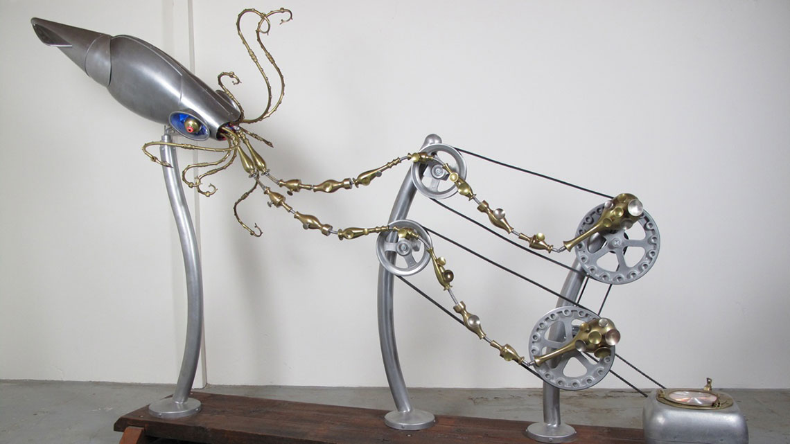 Kinetic sculpture of Giant Squid made from found materials.